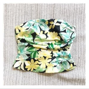 🌴 3/$15 KAY UNGER silk yellow green floral corset